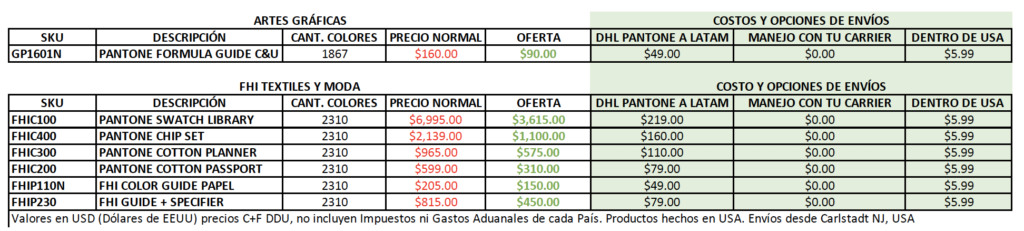 precios ofertas pantone
