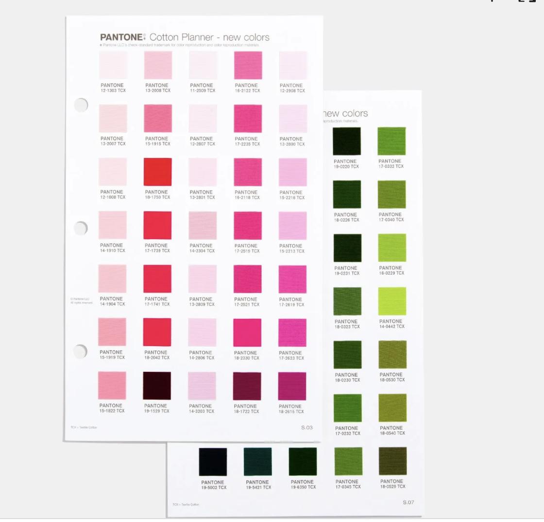 Suplemento 315 colore Pantone Cotton Planner